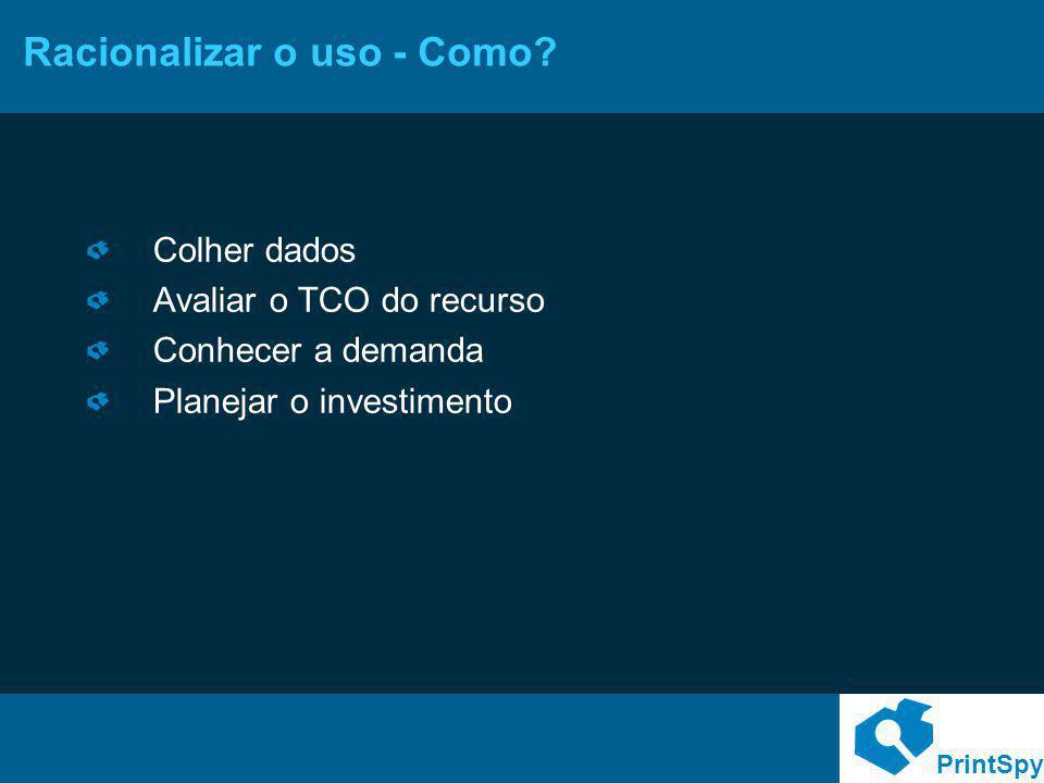 PrintSpy Racionalizar o uso - Como? Colher dados Avaliar o TCO do recurso Conhecer a demanda Planejar o investimento
