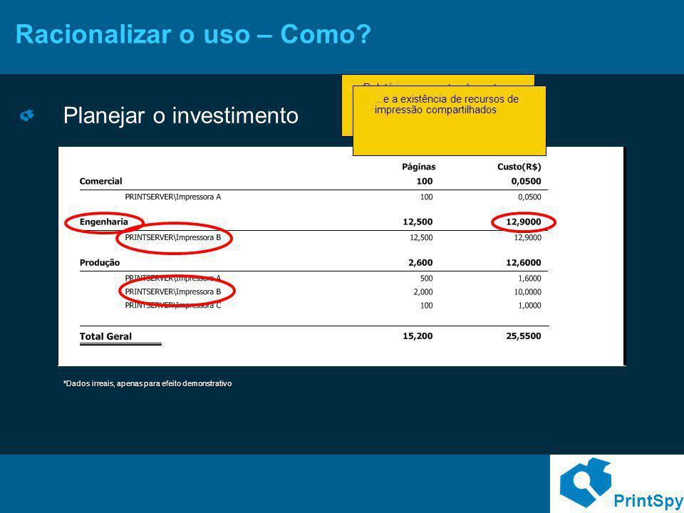 PrintSpy Racionalizar o uso – Como? Planejar o investimento Relatórios por centro de custo permitem identificar quais departamentos demandam maior inv