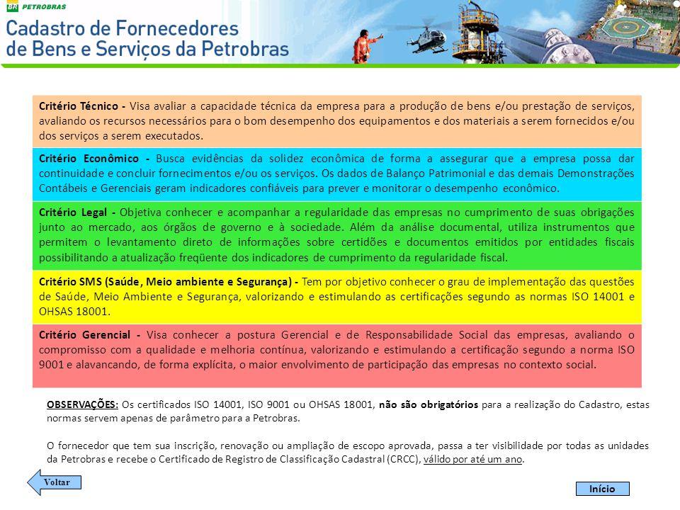 O Cadastro da Petrobras trabalha com dois tipos de fornecedores: - Fornecedores de Bens: produzem e/ou comercializam equipamento, material ou insumo de interesse da Petrobras; - Prestadores de Serviços: prestam serviço e/ou executam obras em geral.