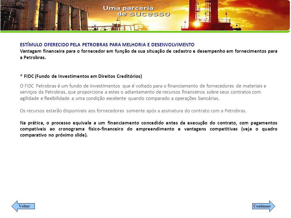 ESTÍMULO OFERECIDO PELA PETROBRAS PARA MELHORIA E DESENVOLVIMENTO Vantagem financeira para o fornecedor em função de sua situação de cadastro e desempenho em fornecimentos para a Petrobras.