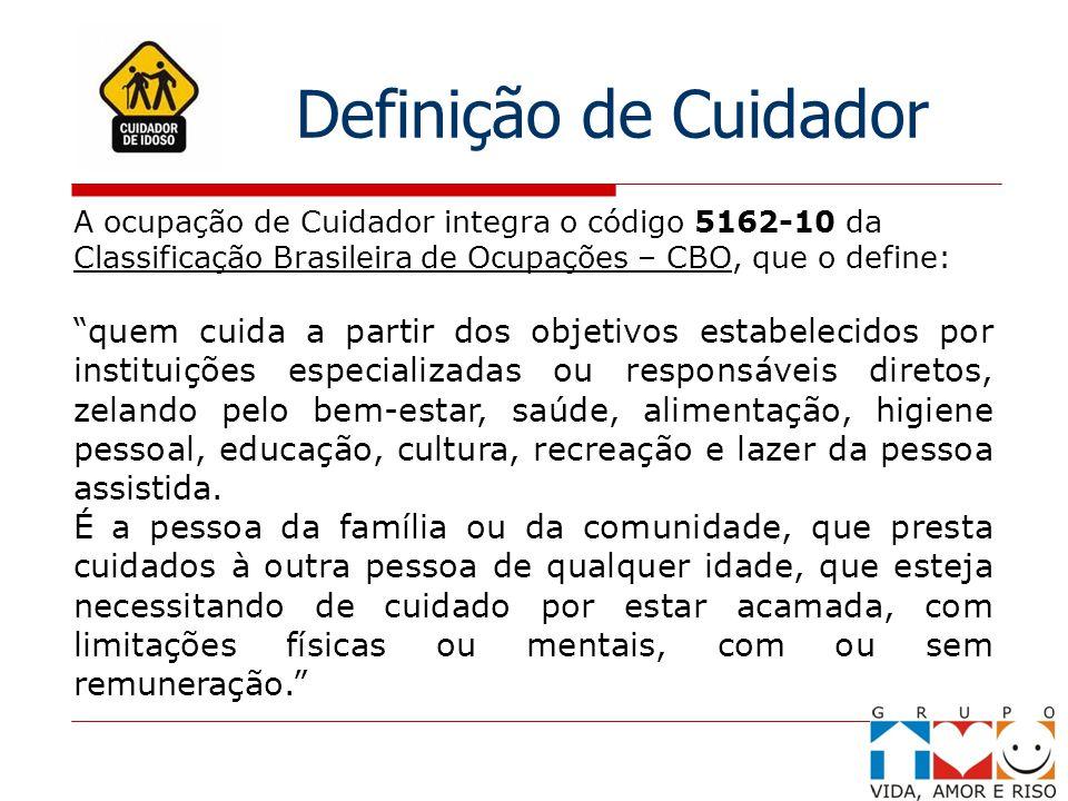A ocupação de Cuidador integra o código 5162-10 da Classificação Brasileira de Ocupações – CBO, que o define: quem cuida a partir dos objetivos estabe