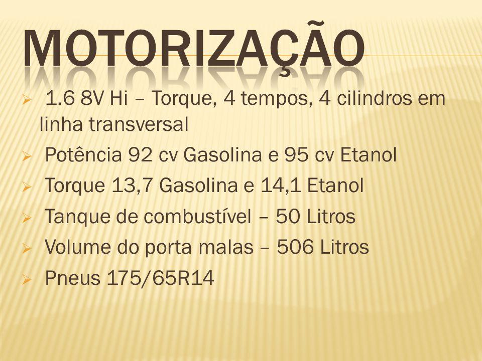 1.6 8V Hi – Torque, 4 tempos, 4 cilindros em linha transversal Potência 92 cv Gasolina e 95 cv Etanol Torque 13,7 Gasolina e 14,1 Etanol Tanque de combustível – 50 Litros Volume do porta malas – 506 Litros Pneus 175/65R14