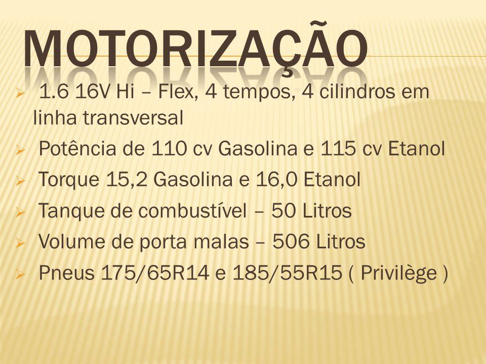 1.6 16V Hi – Flex, 4 tempos, 4 cilindros em linha transversal Potência de 110 cv Gasolina e 115 cv Etanol Torque 15,2 Gasolina e 16,0 Etanol Tanque de combustível – 50 Litros Volume de porta malas – 506 Litros Pneus 175/65R14 e 185/55R15 ( Privilège )