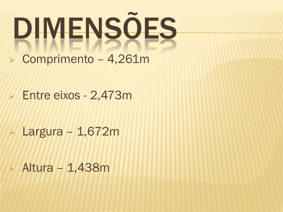 Comprimento – 4,261m Entre eixos - 2,473m Largura – 1,672m Altura – 1,438m