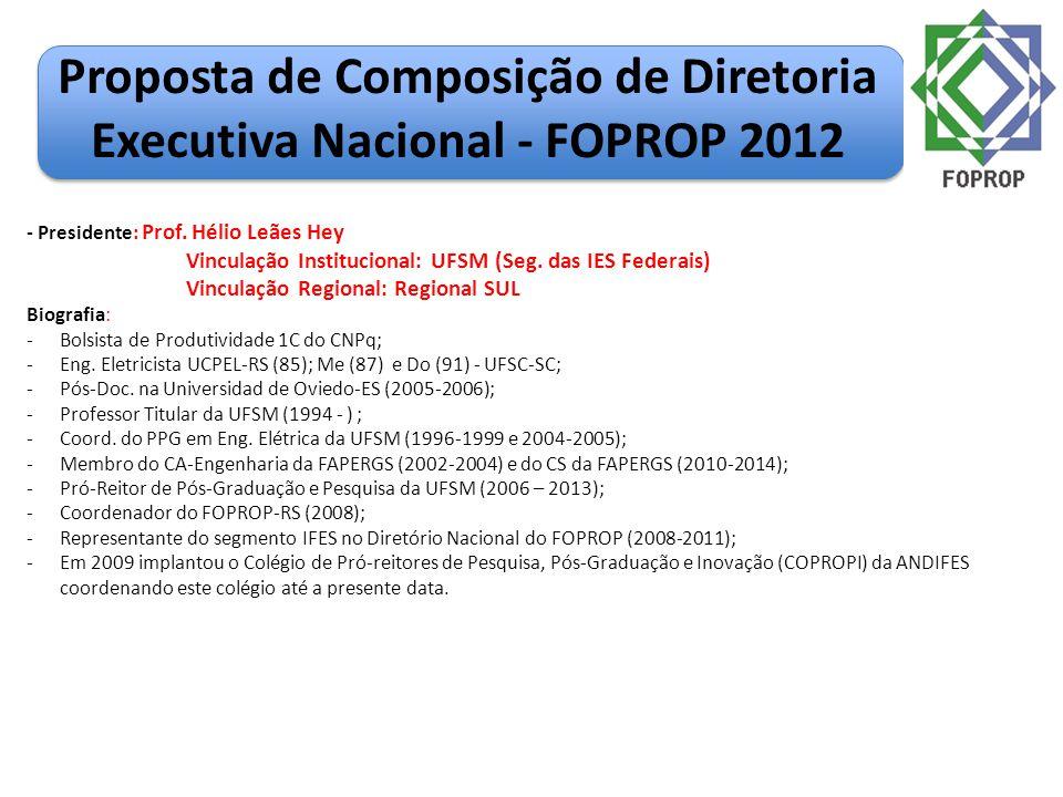 Proposta de Composição de Diretoria Executiva Nacional - FOPROP 2012 - Presidente: Prof. Hélio Leães Hey Vinculação Institucional: UFSM (Seg. das IES