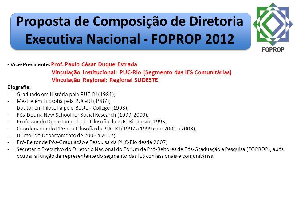 Proposta de Composição de Diretoria Executiva Nacional - FOPROP 2012 - Vice-Presidente: Prof. Paulo César Duque Estrada Vinculação Institucional: PUC-