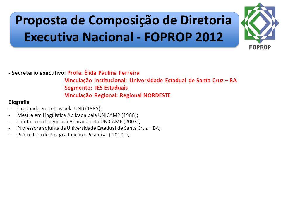 Proposta de Composição de Diretoria Executiva Nacional - FOPROP 2012 - Secretário executivo: Profa. Élida Paulina Ferreira Vinculação Institucional: U
