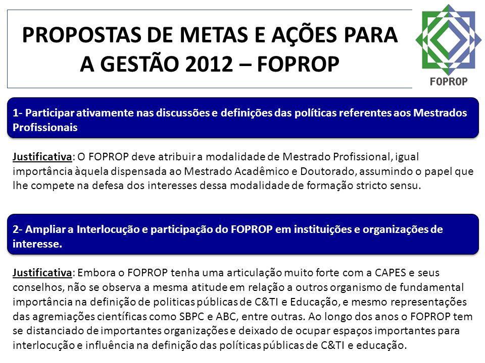 PROPOSTAS DE METAS E AÇÕES PARA A GESTÃO 2012 – FOPROP 1- Participar ativamente nas discussões e definições das políticas referentes aos Mestrados Pro