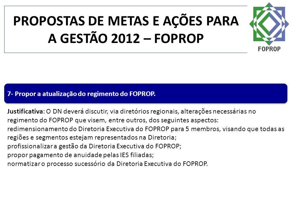 PROPOSTAS DE METAS E AÇÕES PARA A GESTÃO 2012 – FOPROP 7- Propor a atualização do regimento do FOPROP. Justificativa: O DN deverá discutir, via diretó
