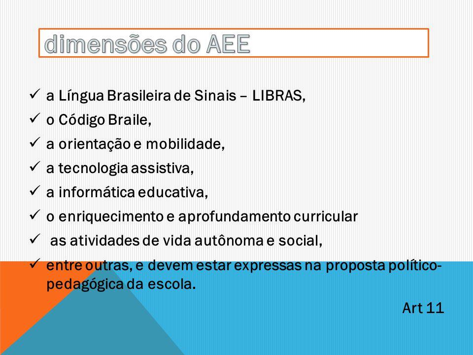 a Língua Brasileira de Sinais – LIBRAS, o Código Braile, a orientação e mobilidade, a tecnologia assistiva, a informática educativa, o enriquecimento