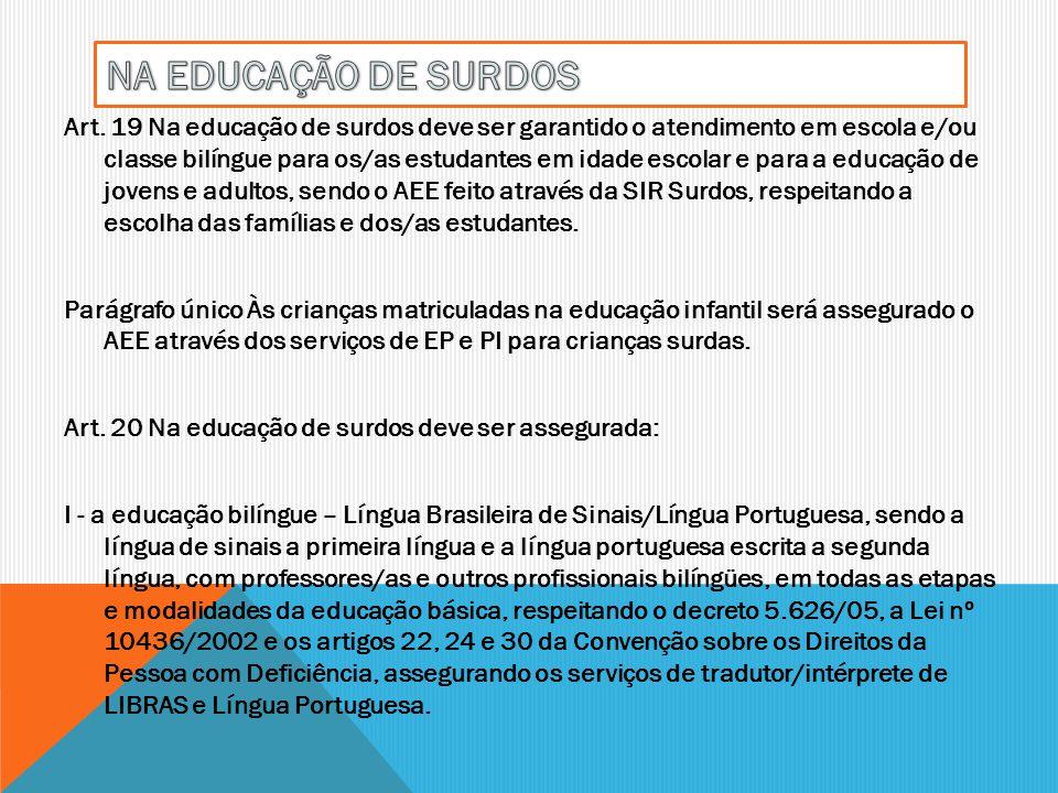 Art. 19 Na educação de surdos deve ser garantido o atendimento em escola e/ou classe bilíngue para os/as estudantes em idade escolar e para a educação