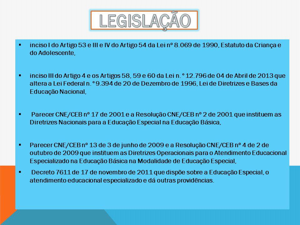 inciso I do Artigo 53 e III e IV do Artigo 54 da Lei nº 8.069 de 1990, Estatuto da Criança e do Adolescente, inciso III do Artigo 4 e os Artigos 58, 5