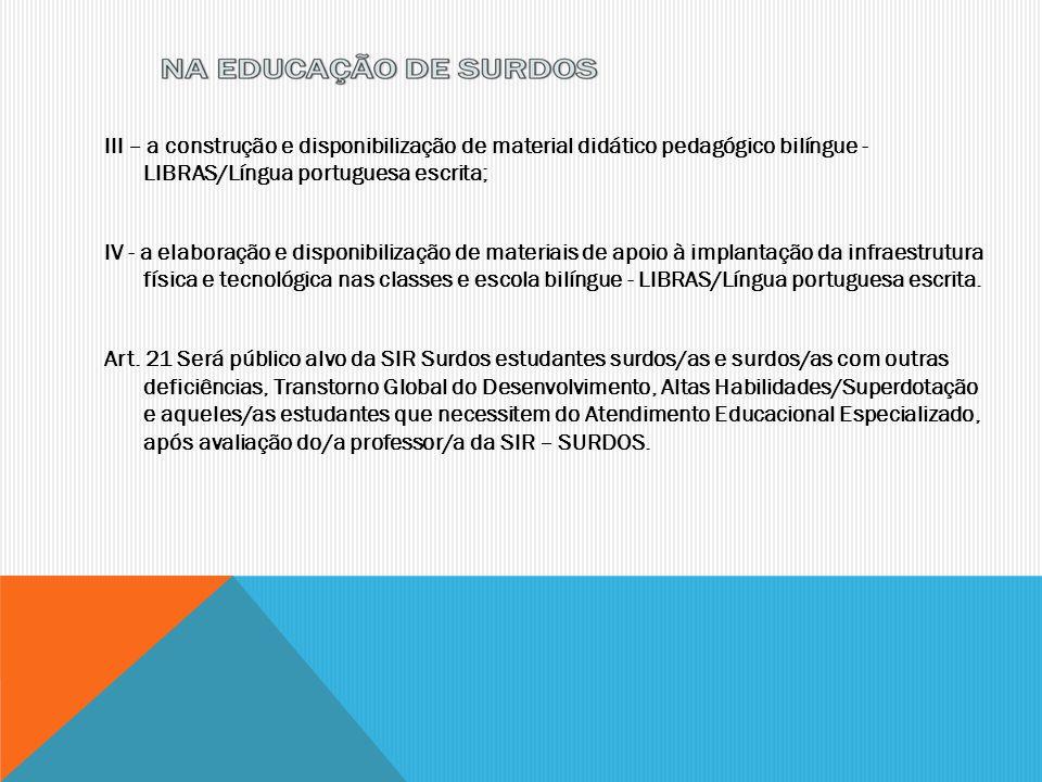 III – a construção e disponibilização de material didático pedagógico bilíngue - LIBRAS/Língua portuguesa escrita; IV - a elaboração e disponibilizaçã