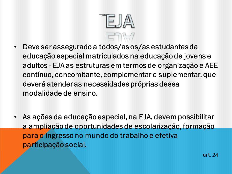Deve ser assegurado a todos/as os/as estudantes da educação especial matriculados na educação de jovens e adultos - EJA as estruturas em termos de org