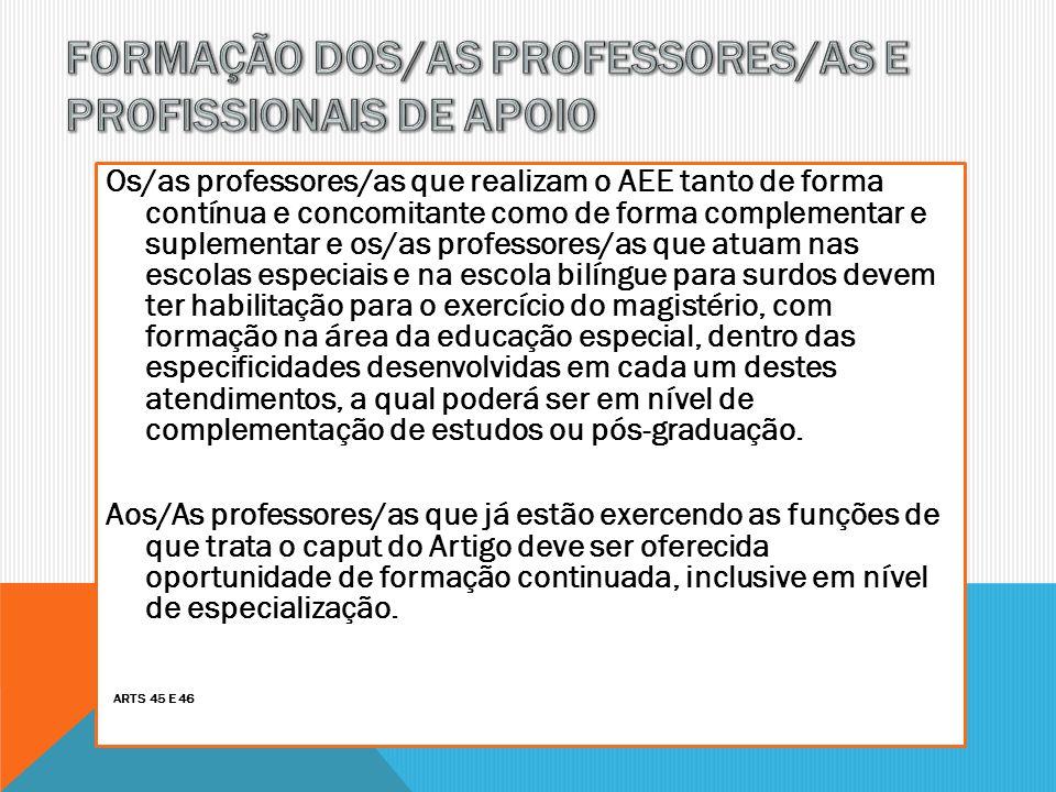 Os/as professores/as que realizam o AEE tanto de forma contínua e concomitante como de forma complementar e suplementar e os/as professores/as que atu