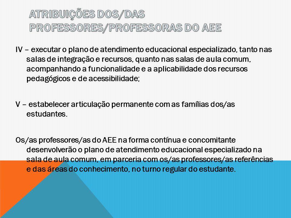 IV – executar o plano de atendimento educacional especializado, tanto nas salas de integração e recursos, quanto nas salas de aula comum, acompanhando