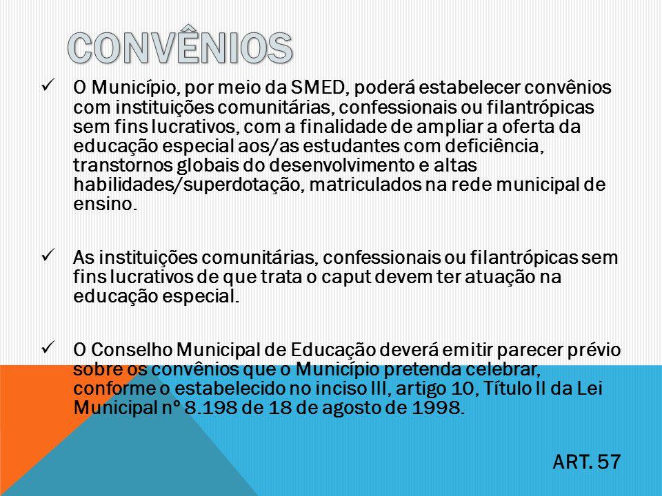 O Município, por meio da SMED, poderá estabelecer convênios com instituições comunitárias, confessionais ou filantrópicas sem fins lucrativos, com a f
