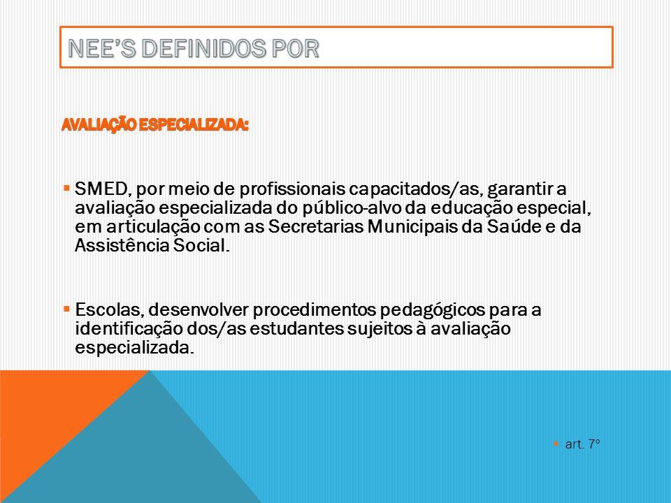 A SMED deve organizar a interlocução permanente entre as escolas especiais e as escolas comuns das regiões as quais pertencem, através dos/as professores/as que atuam nas SIRs e as equipes do Serviço de Orientação Pedagógica - SOP, quando da transferência do/a estudante, a fim de garantir um processo inclusivo de qualidade.