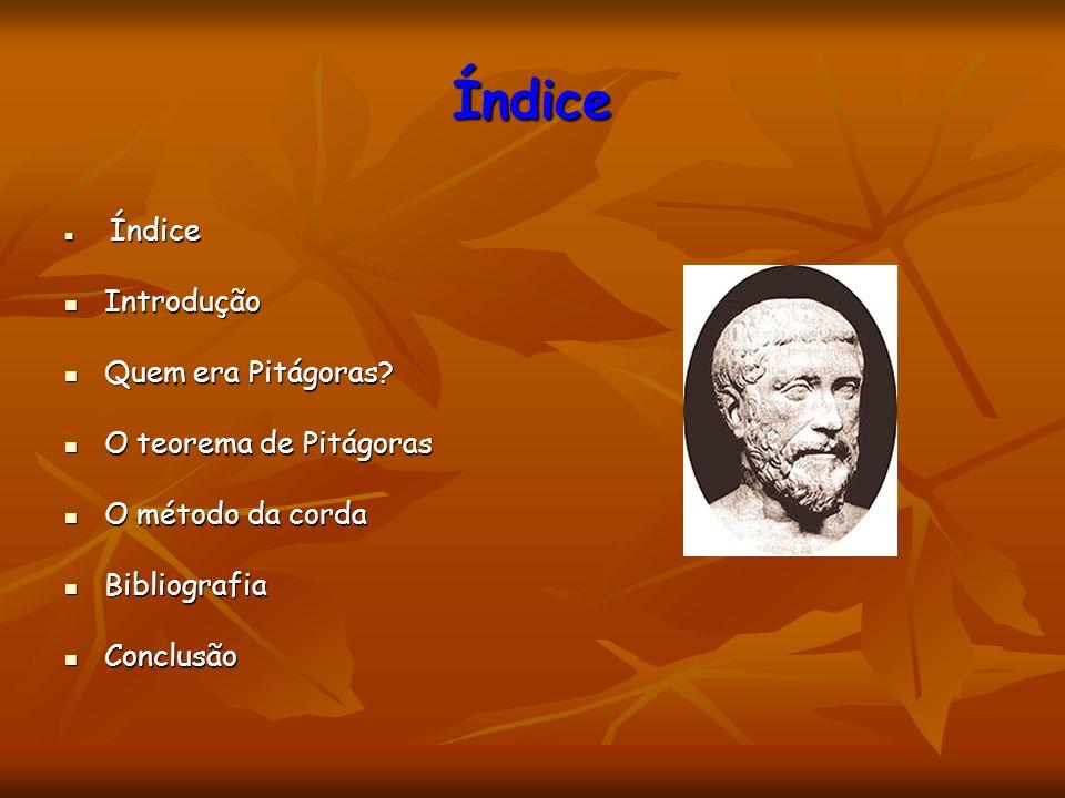 Índice Índice Índice Introdução Introdução Quem era Pitágoras? Quem era Pitágoras? O teorema de Pitágoras O teorema de Pitágoras O método da corda O m