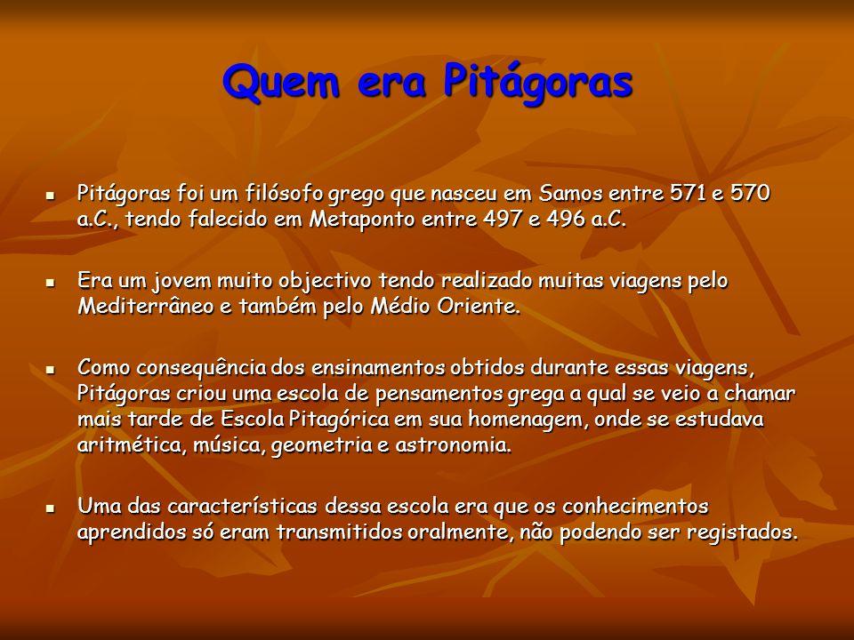 Quem era Pitágoras Pitágoras foi um filósofo grego que nasceu em Samos entre 571 e 570 a.C., tendo falecido em Metaponto entre 497 e 496 a.C. Pitágora