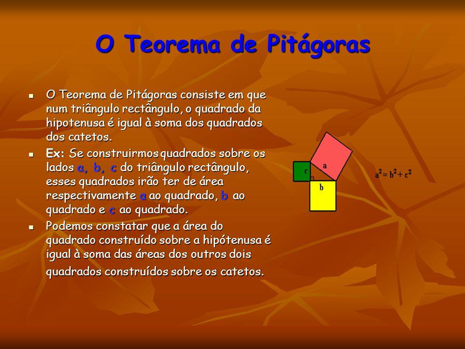 O Teorema de Pitágoras O Teorema de Pitágoras consiste em que num triângulo rectângulo, o quadrado da hipotenusa é igual à soma dos quadrados dos cate