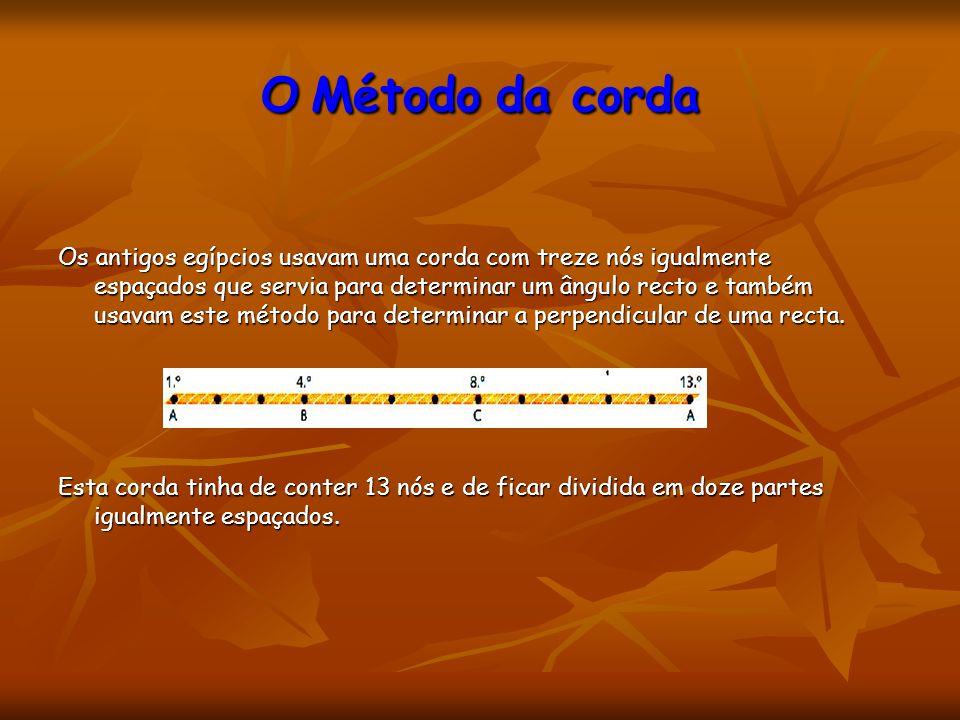 O Método da corda Os antigos egípcios usavam uma corda com treze nós igualmente espaçados que servia para determinar um ângulo recto e também usavam e