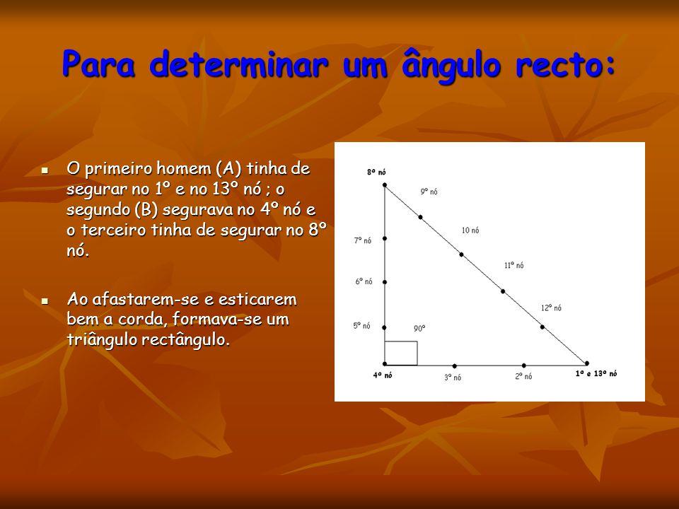 Para determinar um ângulo recto: O primeiro homem (A) tinha de segurar no 1º e no 13º nó ; o segundo (B) segurava no 4º nó e o terceiro tinha de segur
