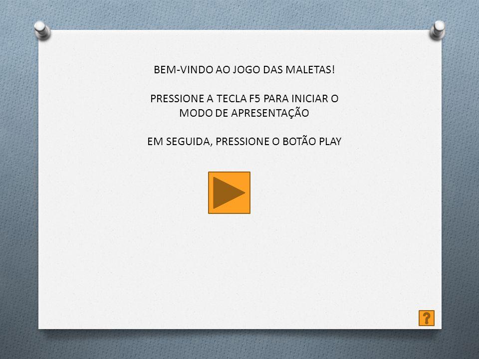 Ajuda F5 – Inicia o jogo – – botão Play – botão Ajuda – Maleta – botão Retornar – botão FIM A finalidade do jogo é pontuar 1000 pontos.