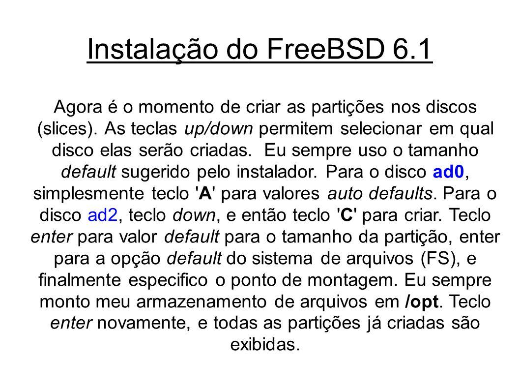 Instalação do FreeBSD 6.1 Agora é o momento de criar as partições nos discos (slices).