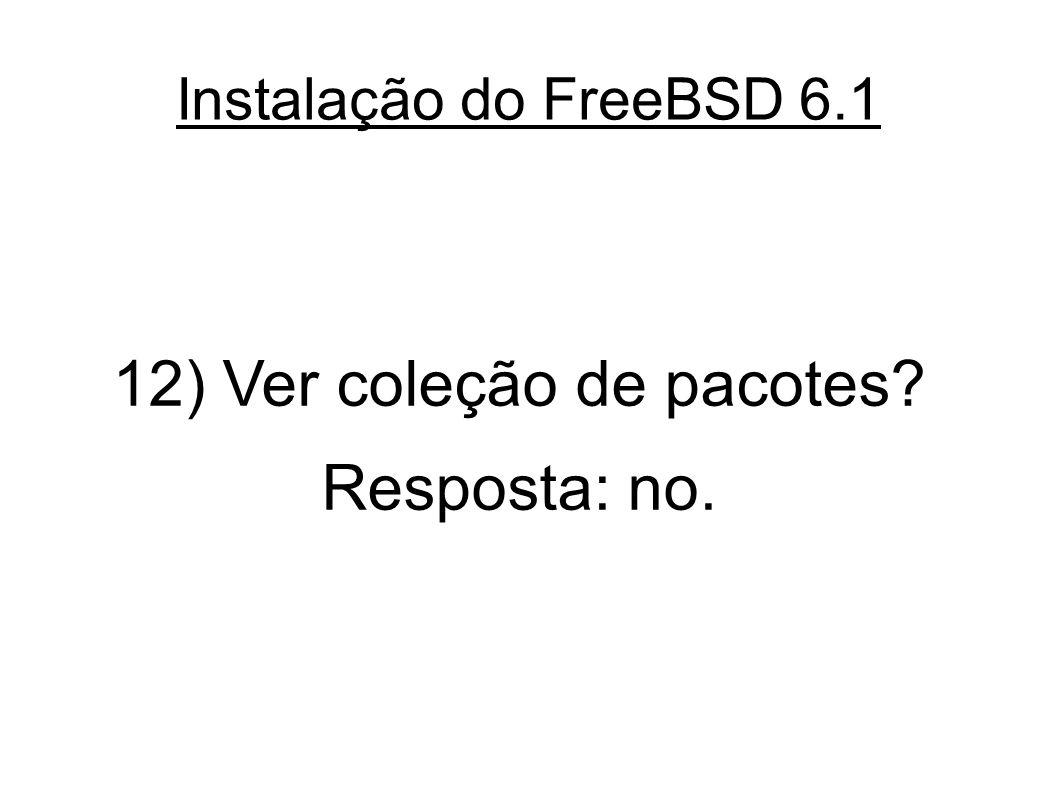 Instalação do FreeBSD 6.1 12) Ver coleção de pacotes? Resposta: no.