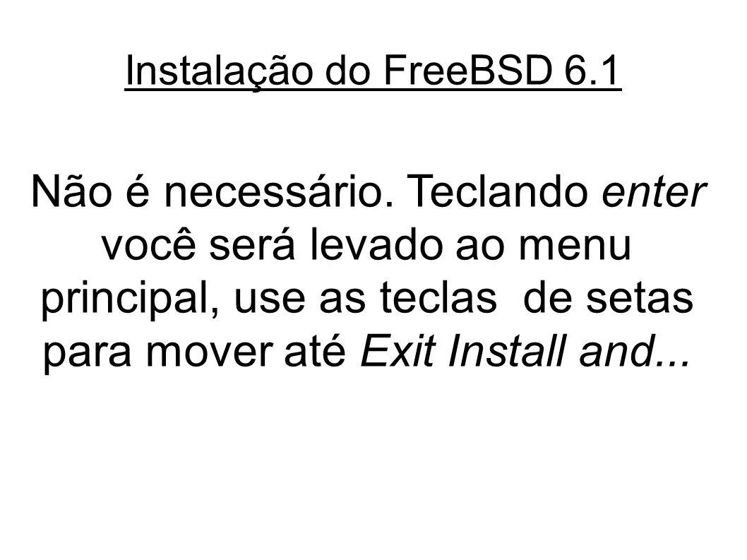 Instalação do FreeBSD 6.1 Não é necessário.