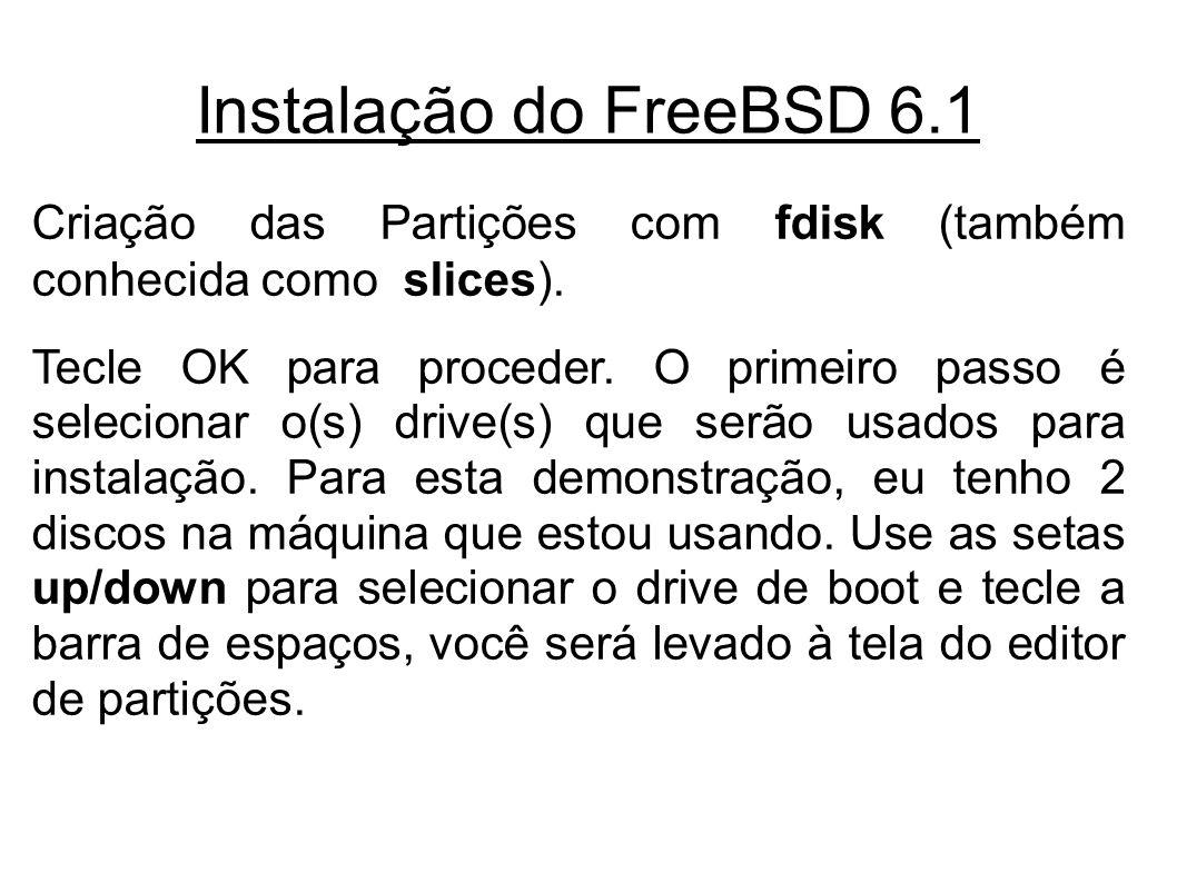 Instalação do FreeBSD 6.1 Criação das Partições com fdisk (também conhecida como slices).