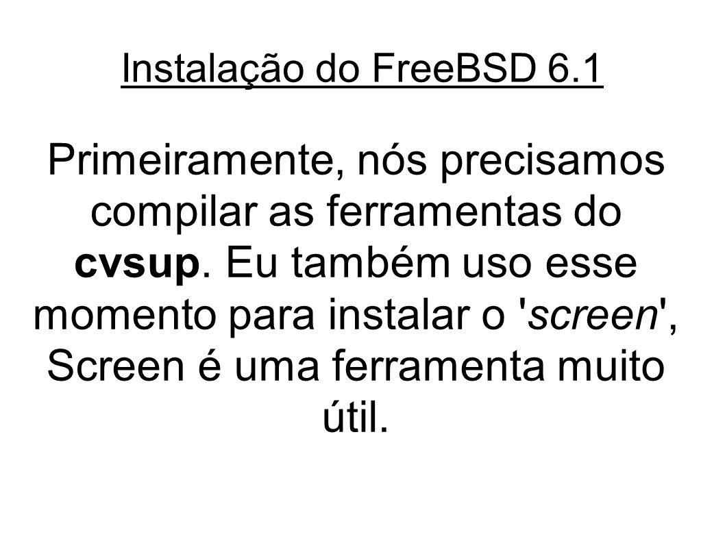 Instalação do FreeBSD 6.1 Primeiramente, nós precisamos compilar as ferramentas do cvsup.