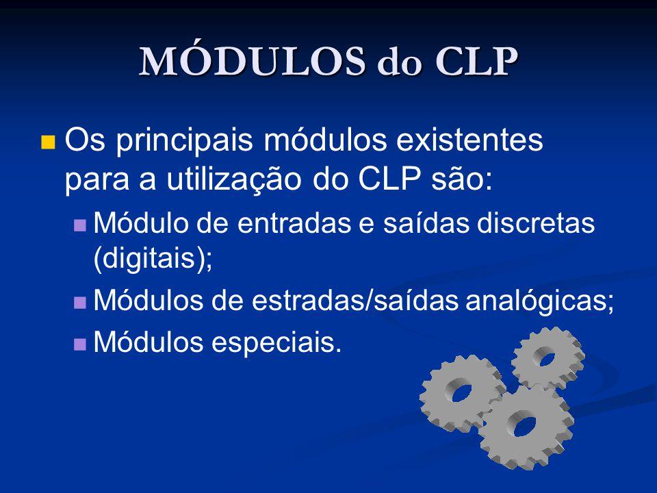 MÓDULOS do CLP Os principais módulos existentes para a utilização do CLP são: Módulo de entradas e saídas discretas (digitais); Módulos de estradas/sa