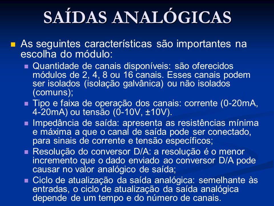 SAÍDAS ANALÓGICAS As seguintes características são importantes na escolha do módulo: Quantidade de canais disponíveis: são oferecidos módulos de 2, 4,