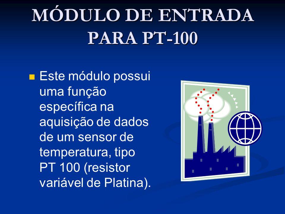 MÓDULO DE ENTRADA PARA PT-100 Este módulo possui uma função específica na aquisição de dados de um sensor de temperatura, tipo PT 100 (resistor variáv