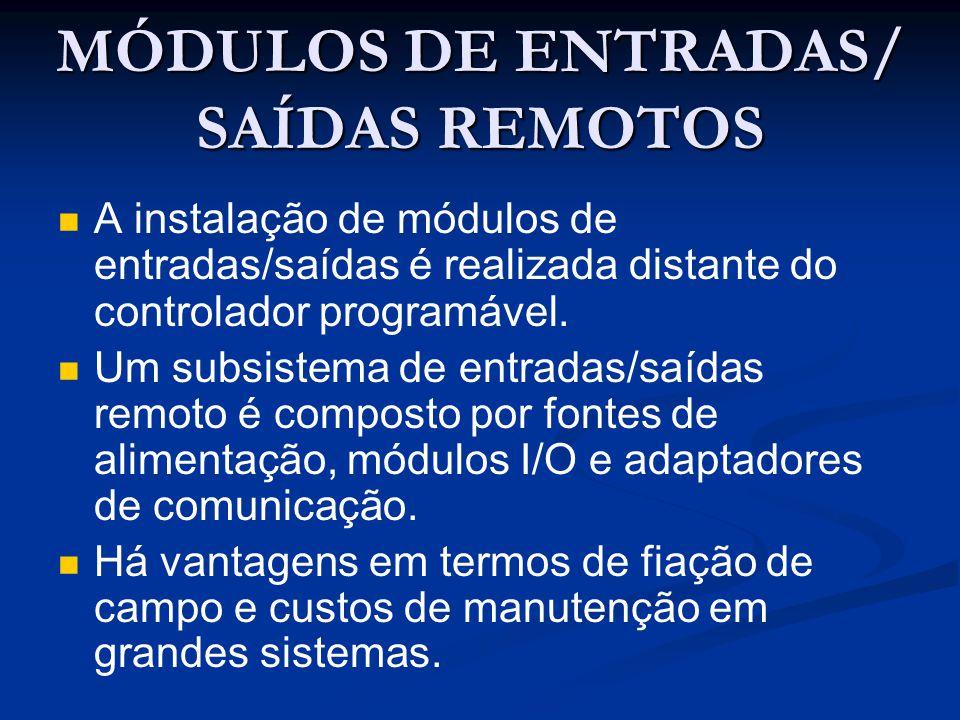 MÓDULOS DE ENTRADAS/ SAÍDAS REMOTOS A instalação de módulos de entradas/saídas é realizada distante do controlador programável. Um subsistema de entra