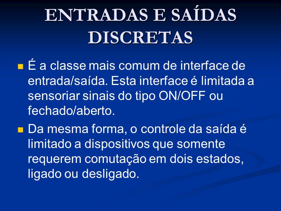 ENTRADAS E SAÍDAS DISCRETAS É a classe mais comum de interface de entrada/saída. Esta interface é limitada a sensoriar sinais do tipo ON/OFF ou fechad