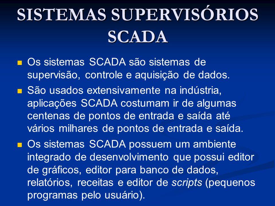 SISTEMAS SUPERVISÓRIOS SCADA Os sistemas SCADA são sistemas de supervisão, controle e aquisição de dados. São usados extensivamente na indústria, apli