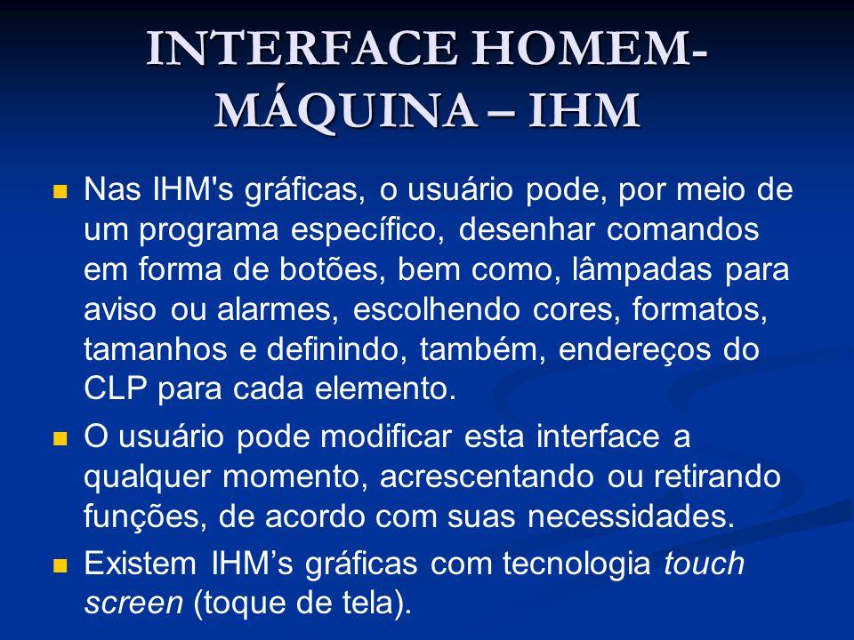 INTERFACE HOMEM- MÁQUINA – IHM Nas IHM's gráficas, o usuário pode, por meio de um programa específico, desenhar comandos em forma de botões, bem como,