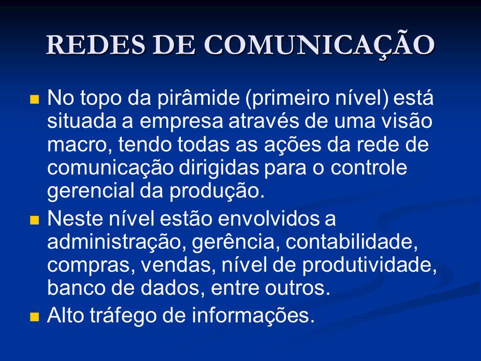 REDES DE COMUNICAÇÃO No topo da pirâmide (primeiro nível) está situada a empresa através de uma visão macro, tendo todas as ações da rede de comunicaç
