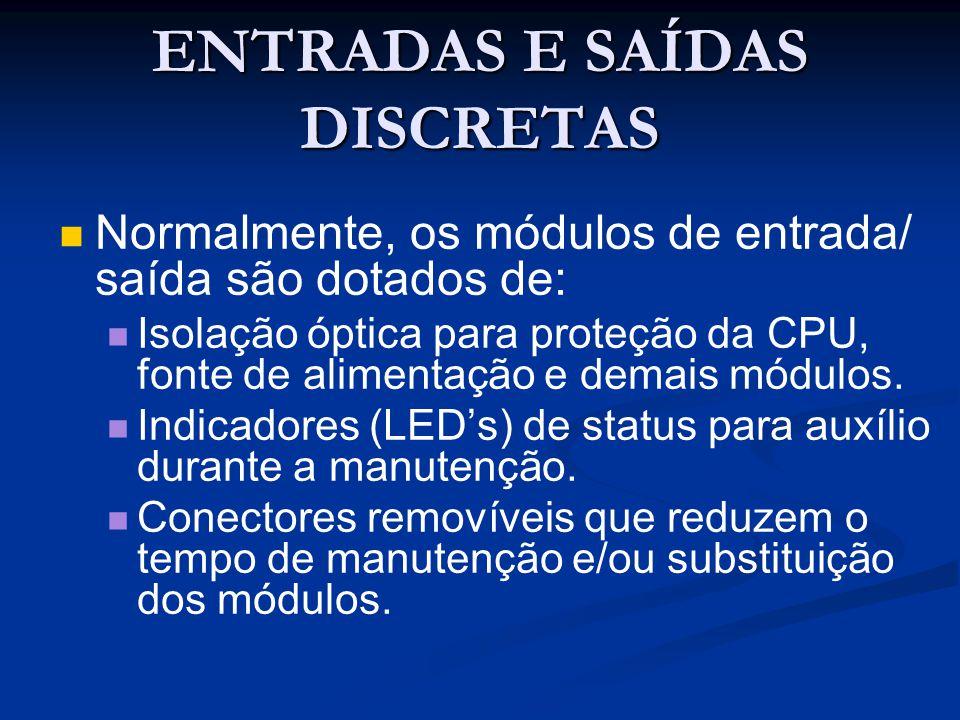 ENTRADAS E SAÍDAS DISCRETAS Normalmente, os módulos de entrada/ saída são dotados de: Isolação óptica para proteção da CPU, fonte de alimentação e dem