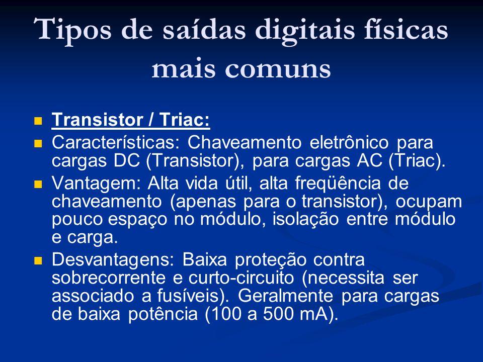 Tipos de saídas digitais físicas mais comuns Transistor / Triac: Características: Chaveamento eletrônico para cargas DC (Transistor), para cargas AC (