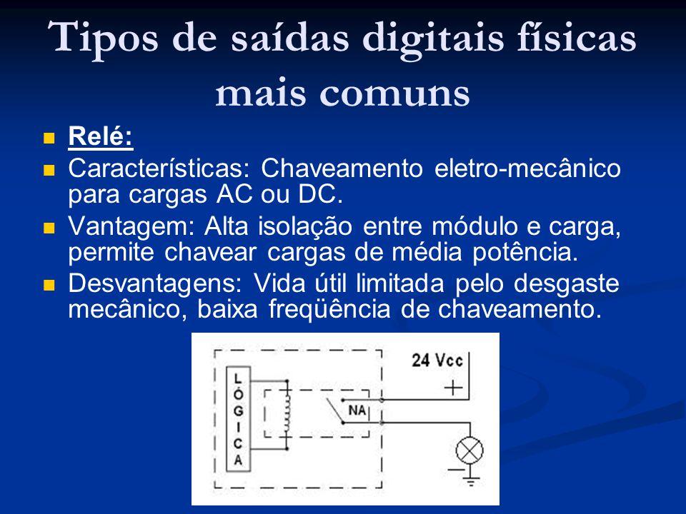 Tipos de saídas digitais físicas mais comuns Relé: Características: Chaveamento eletro-mecânico para cargas AC ou DC. Vantagem: Alta isolação entre mó