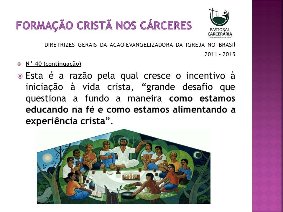 DIRETRIZES GERAIS DA ACAO EVANGELIZADORA DA IGREJA NO BRASIl 2011 – 2015 N° 40 (continuação) Trata-se, portanto, de desenvolver, em nossas comunidades, um processo de iniciação cristã que conduza a um encontro pessoal, cada vez maior com Jesus Cristo, atitude que deve ser assumida em todo o continente latino-americano e, portanto, também no Brasil.