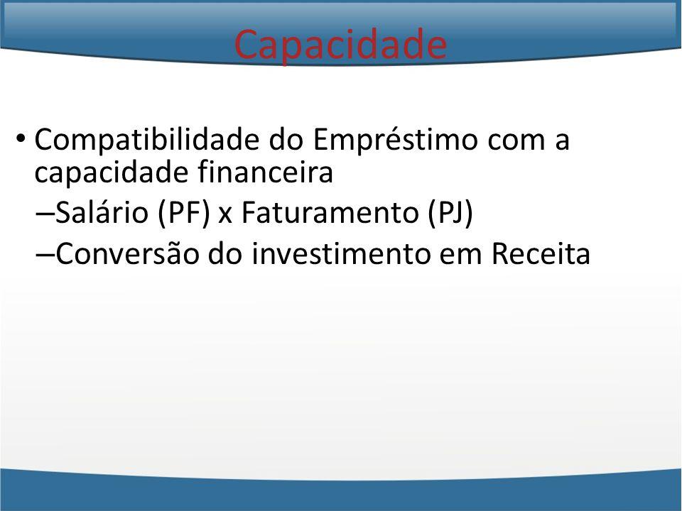 Compatibilidade do Empréstimo com a capacidade financeira – Salário (PF) x Faturamento (PJ) – Conversão do investimento em Receita Capacidade