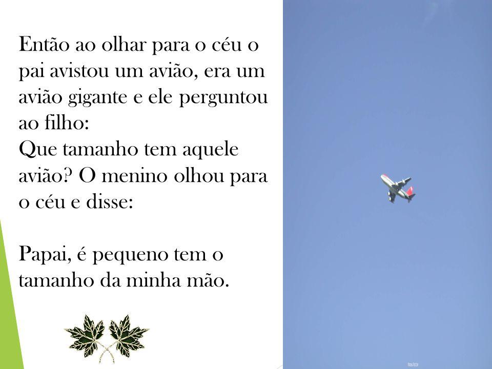 Então ao olhar para o céu o pai avistou um avião, era um avião gigante e ele perguntou ao filho: Que tamanho tem aquele avião.