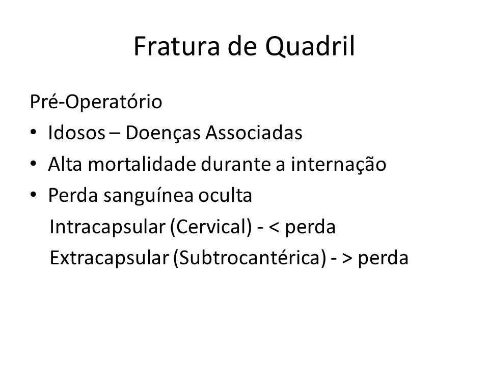 Fratura de Quadril Hipóxia por Embolia Gordurosa Dispnéia, petéquias, confusão – 72h após frat.