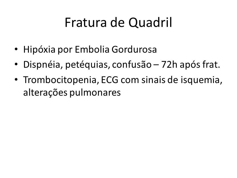 Questão Das alterações citadas abaixo, aquela que não ocorre na síndrome da embolia gordurosa é: a)ECG com padrão isquêmico b)SARA c)Trombocitose d)Petéquias