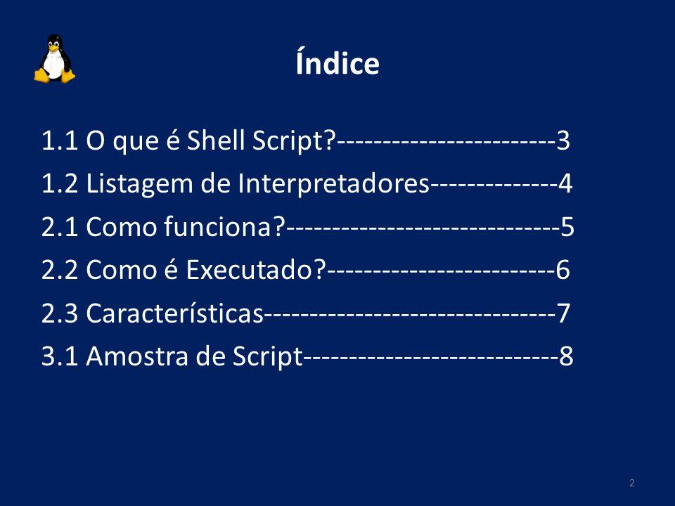 Índice 1.1 O que é Shell Script?------------------------3 1.2 Listagem de Interpretadores--------------4 2.1 Como funciona?---------------------------
